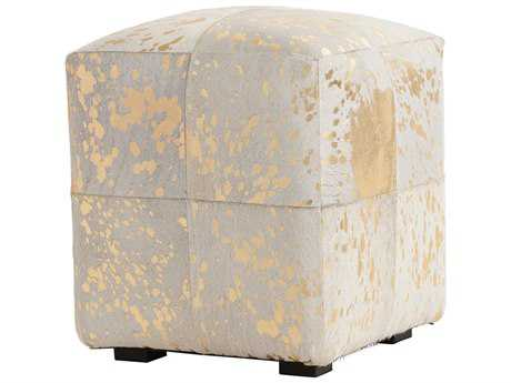 Arteriors Home Hugo Natural Ivory with Gold Leaf Ottoman