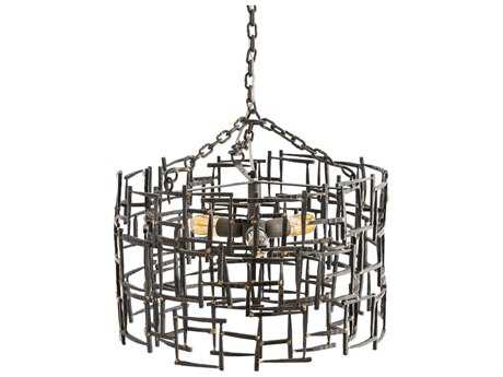 Arteriors Home Ecko Natural Iron with Brass Welds 22'' Wide Three-Light Pendant Light