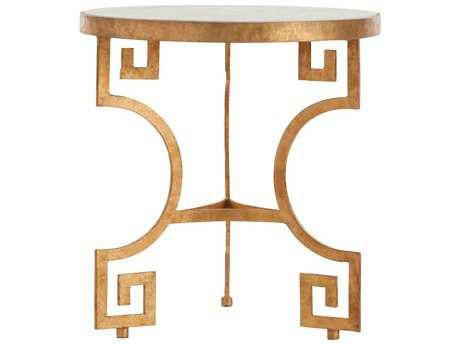 Arteriors Home Bonnie White Marble with Gold Leaf 24'' Wide Round End Table
