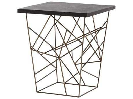 Arteriors Home Live Black Marble with Antique Brass 22'' Wide Square End Table