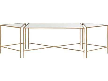 Arteriors Home Alice Clear Glass with Antique Brass 67''L x 30''W Cocktail Table (Sold in 3)