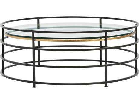 Arteriors Home Nosh Natural Iron with Gold Leaf 32.5'' Round Coffee Table