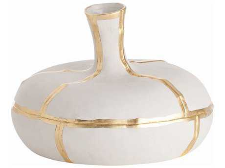 Arteriors Home Venus Matte White with Metallic Gold Short Vase
