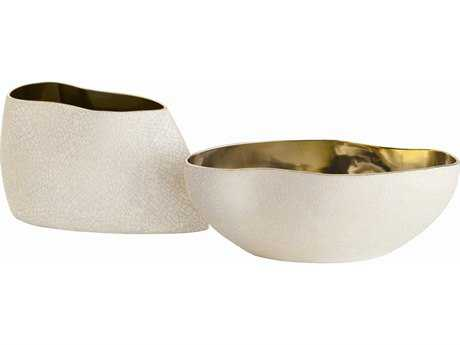 Arteriors Home Vanessa White Crackle with Metallic Gold & Champagne Bowls (Set of Two Bowls)