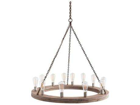 Arteriors Home Geoffrey Gray Wood with Rusted Iron 12-Lights 36'' Wide Chandelier