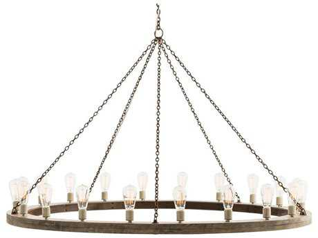 Arteriors Home Geoffrey Gray Wood with Rustic Iron 20-Lights 60'' Wide Grand Chandelier