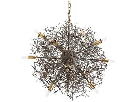 Arteriors Home Brazos Natural Iron & Antique Brass 24'' Wide 12-Light Chandelier