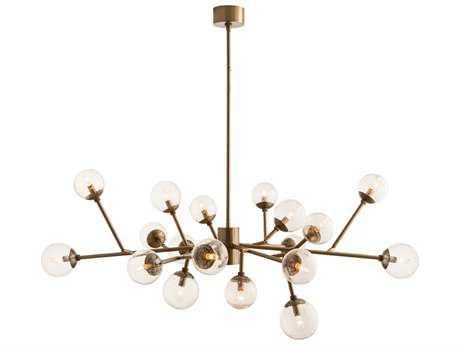 Arteriors Home Dallas Vintage Brass with Seedy Glass 18-Lights 45'' Wide Grand Chandelier