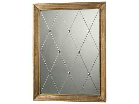 Arteriors Home Diamonte Weathered Oak with Silver Studs 36''W x 48''H Rectangular Wall Mirror