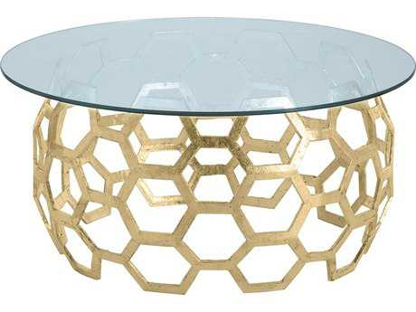 Arteriors Home Dolma Gold Leaf 48'' Wide Round Cocktail Table