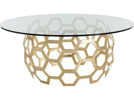 Arteriors Home Dolma Gold Leaf 60'' Wide Round Entry Foyer Table