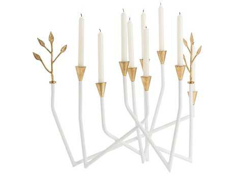 Arteriors Home Daphne Gesso and Gold Leaf Candle Holder
