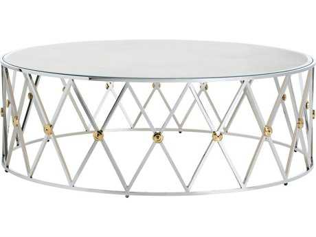 Arteriors Home Corinth Polished Nickel with Polished Brass 48'' Round Coffee Table