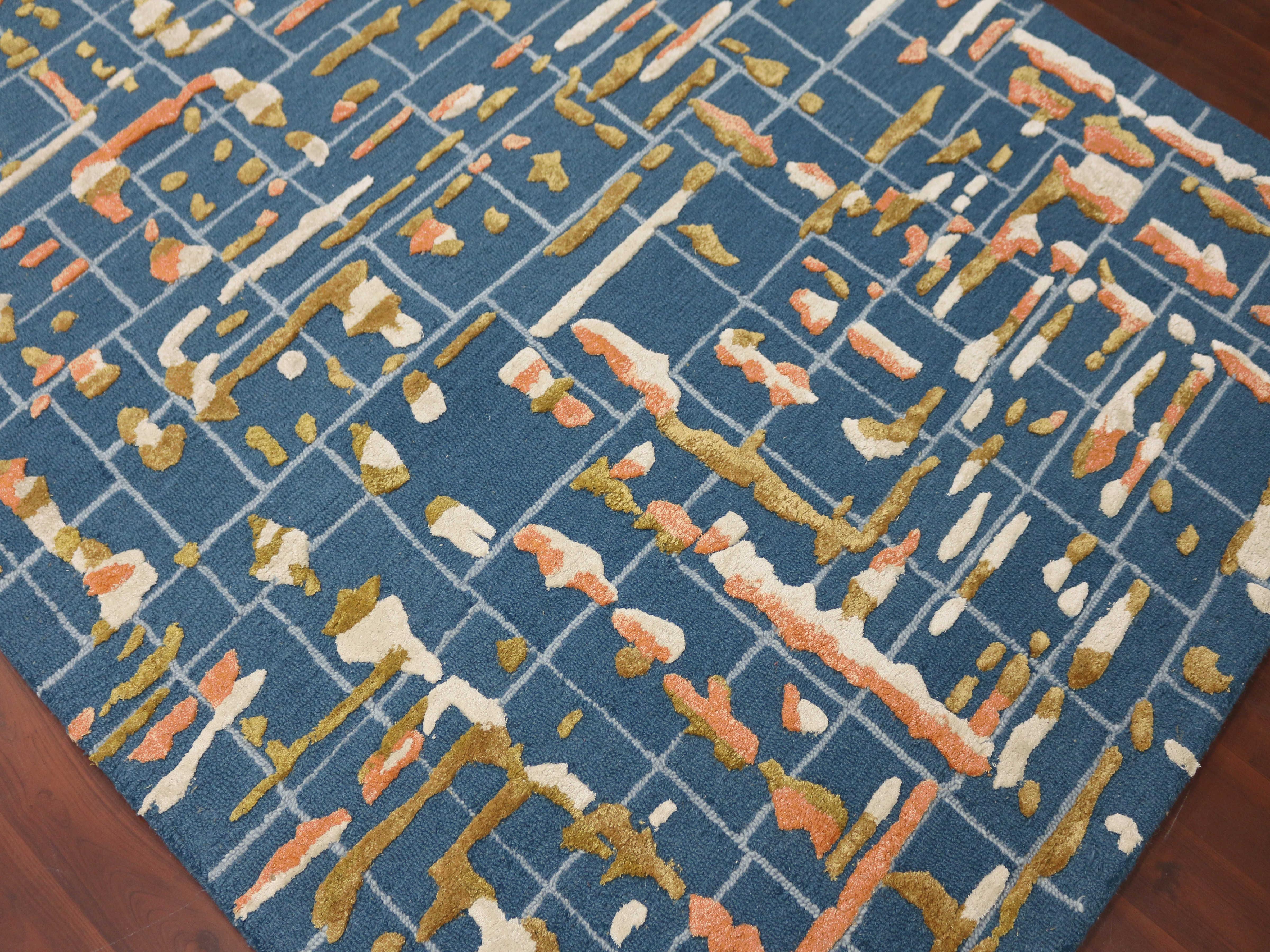 Amer Rugs Perla Blue Yellow Orange Ivory Rectangular