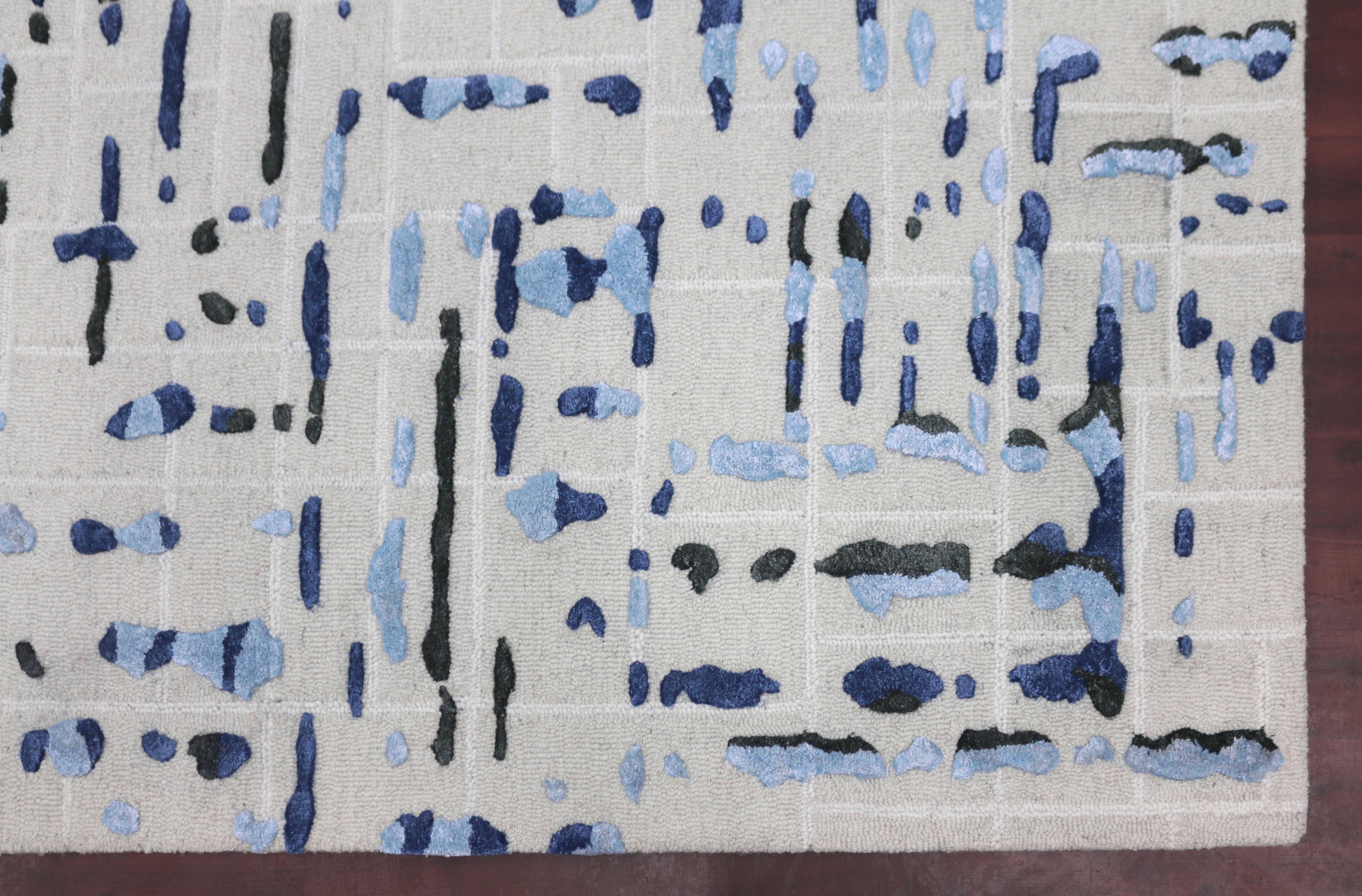 Amer Rugs Perla Ivory Blue Green Black White Rectangular