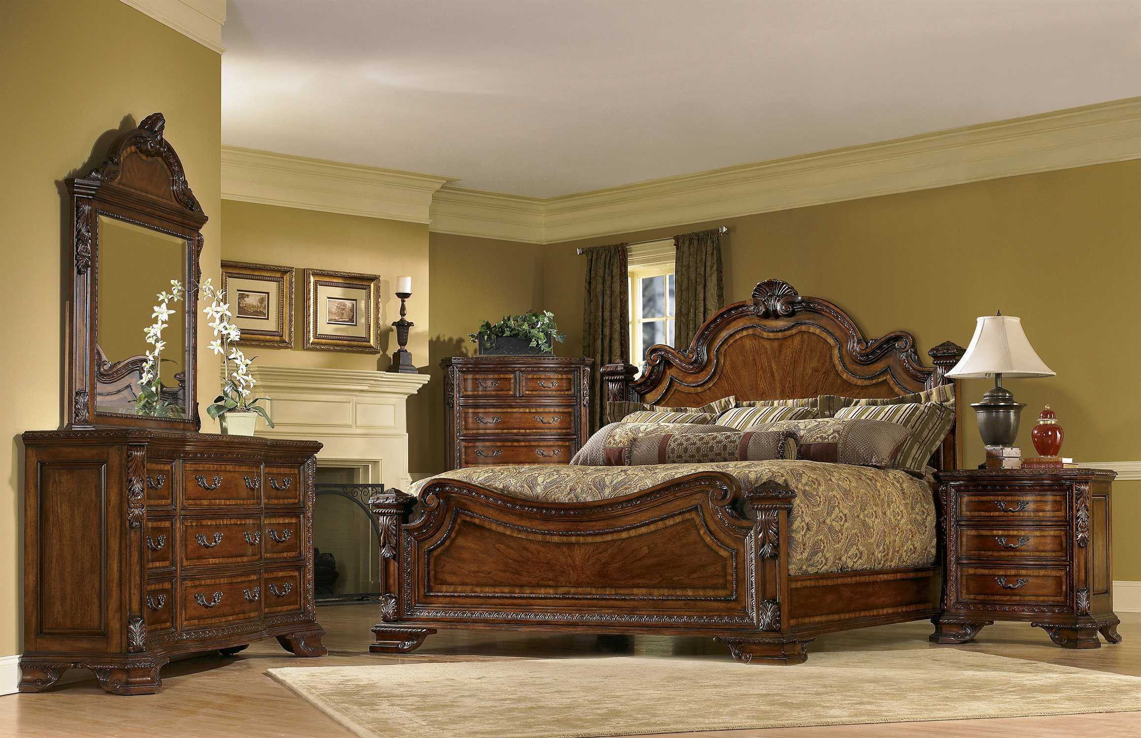 A r t furniture old world bedroom set at1431562606set for Bed and bedroom furniture sets