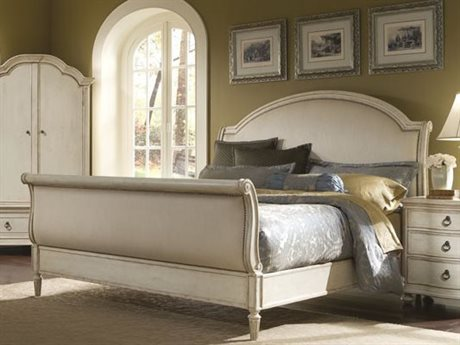 A.R.T. Furniture Provenance White Antique Linen Queen Sleigh Bed