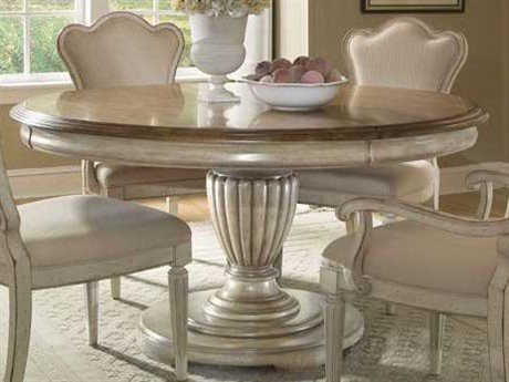 A.R.T. Furniture Provenance Toffee with White Antique Linen 79'' Wide Round Dining Table
