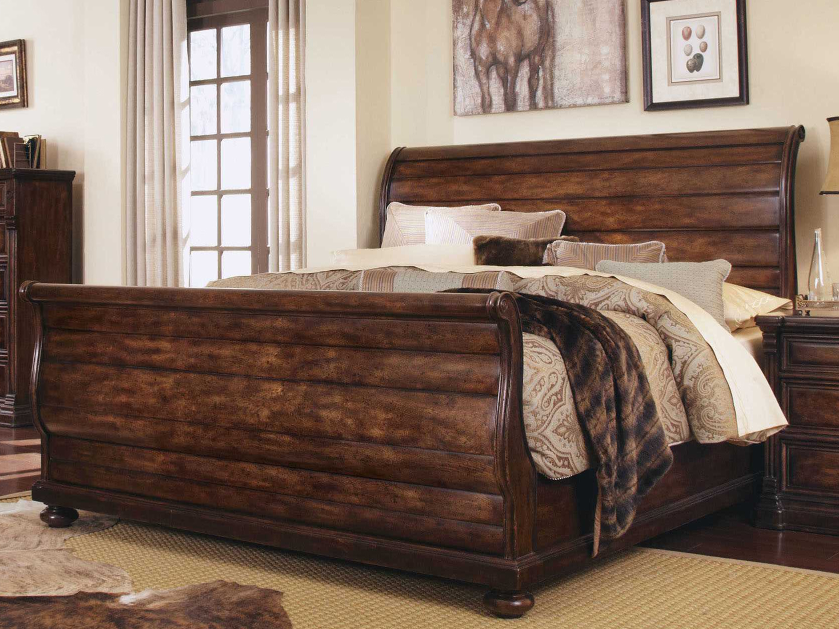 A r t furniture whiskey oak california king sleigh bed - King size sleigh bed bedroom set ...