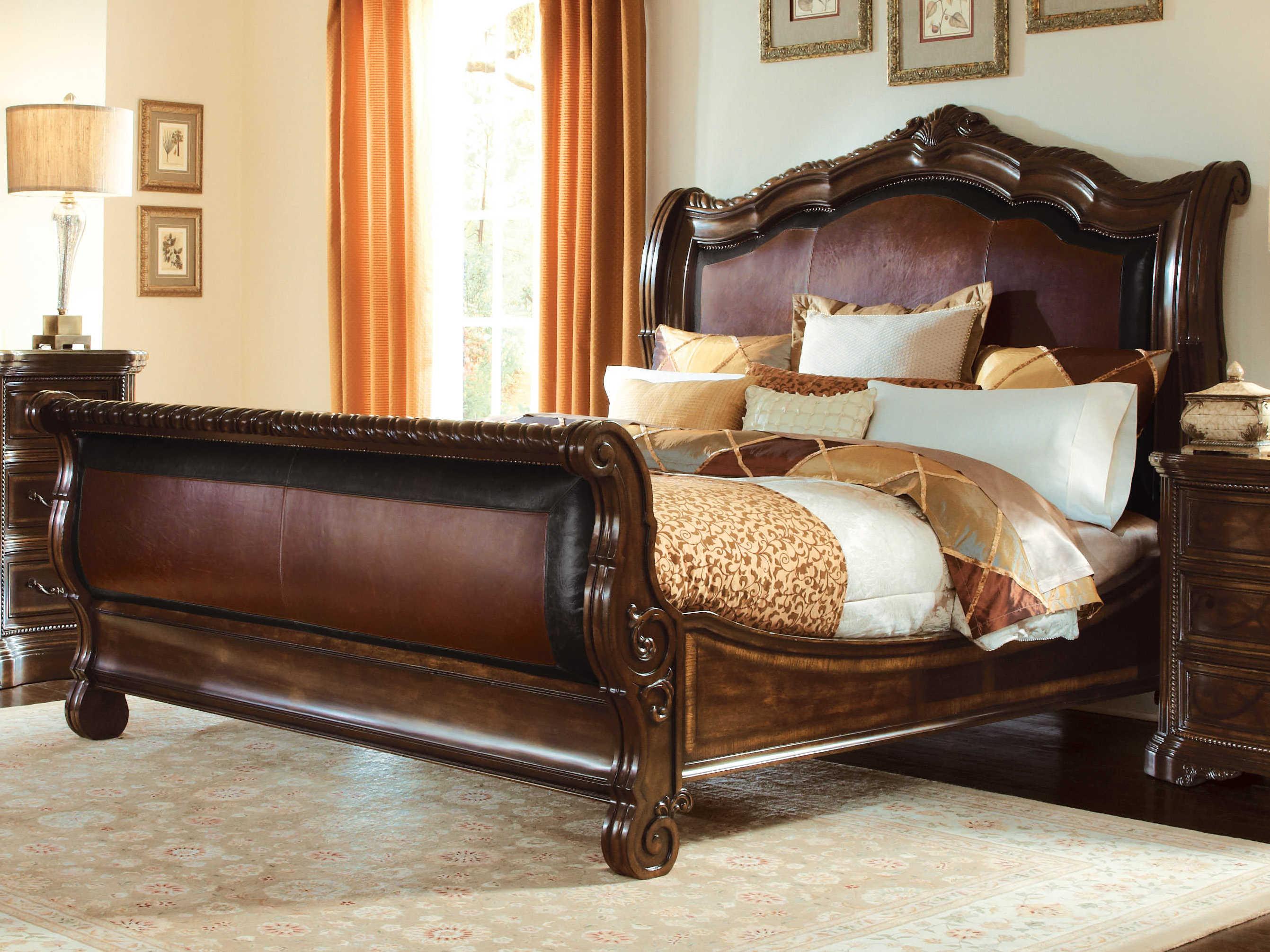 A R T Furniture Valencia Dark Oak Eastern King Size Sleigh Bed