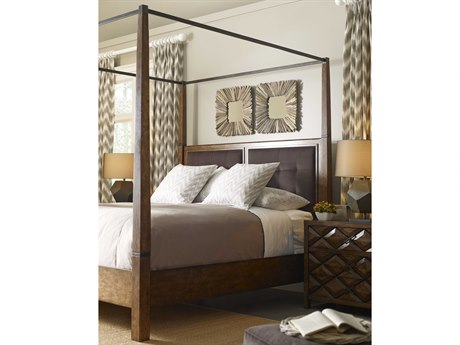 A.R.T. Furniture Echo Park Huston Arroyo Stippled Stain California King Size Poster Bed with Canopy