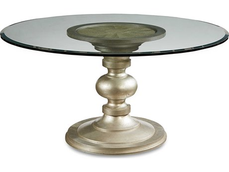 A.R.T. Furniture Morrissey Wallen Bezel Silver 60'' Wide Round Dining Table with Glass Top