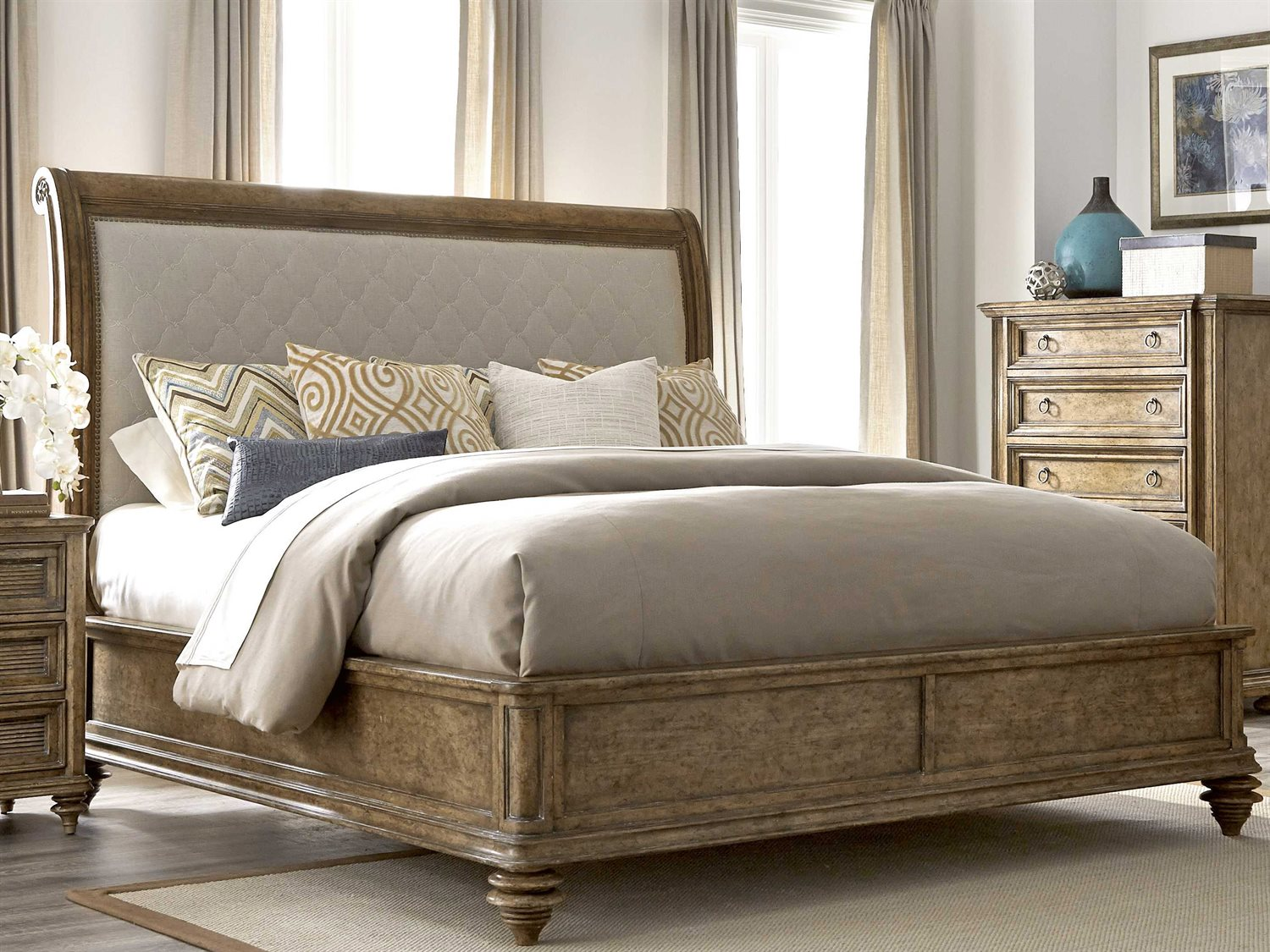 A r t furniture pavilion barley california king size - King size sleigh bed bedroom set ...