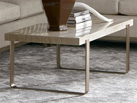 A.R.T. Furniture Cityscapes Griffith Polished Travertine Stone with Rose Gold Accolade 50''L x 26''W Rectangular Cocktail Table AT2323601226