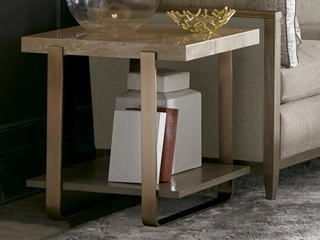 A.R.T. Furniture Cityscapes Griffith Polished Travertine Stone with Rose Gold Accolade 22''L x 27''W Rectangular End Table