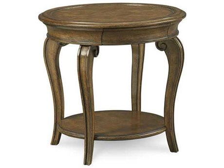 A.R.T. Furniture Continental Weathered Nutmeg 28.5'' Wide Round Lamp End Table