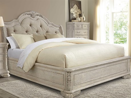 A.R.T. Furniture Renaissance Dove Grey with Silver Tipping Queen Size Platform Bed