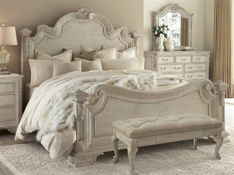 ART Furniture Renaissance Dove Grey with Silver Tipping Eastern King Size Panel Bed