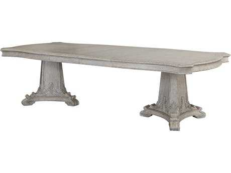 ART Furniture Renaissance Dove Grey with Silver Tipping 76''L x 46''W Rectangular Double Pedestal Dining Table