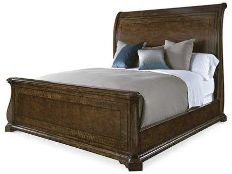 ART Furniture Firenze Medium Brown with Maple Inlays Eastern King Size Sleigh Bed