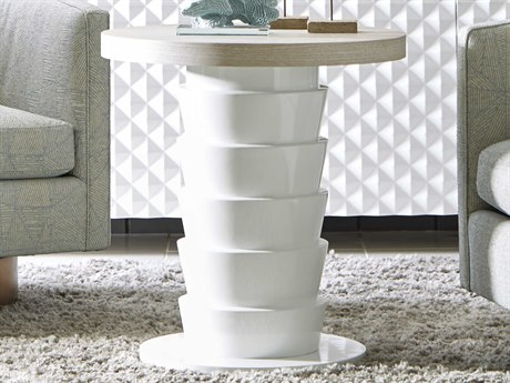 A.R.T. Furniture Epicenters Gray Wash/Gloss White 24'' Wide Round Pedestal Table AT3313032840