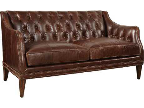 ART Furniture Kennedy Dark Oak with Walnut Leather Settle Loveseat
