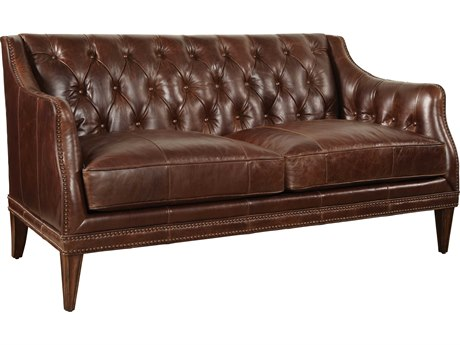 A.R.T. Furniture Kennedy Dark Oak with Walnut Leather Settle Loveseat