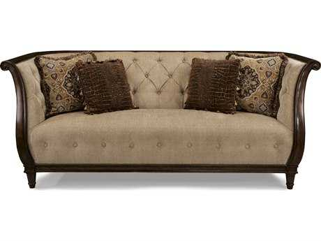 ART Furniture Ava Rustic Walnut & Melange Beige Tufted Back Sofa