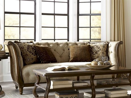 ART Furniture Ava Rustic Walnut & Melange Beige Tufted Back Sofa
