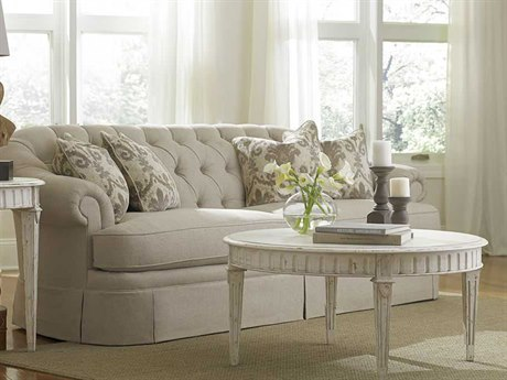 A.R.T. Furniture Collection One Light Beige Oxford Tufted Skirted Sofa