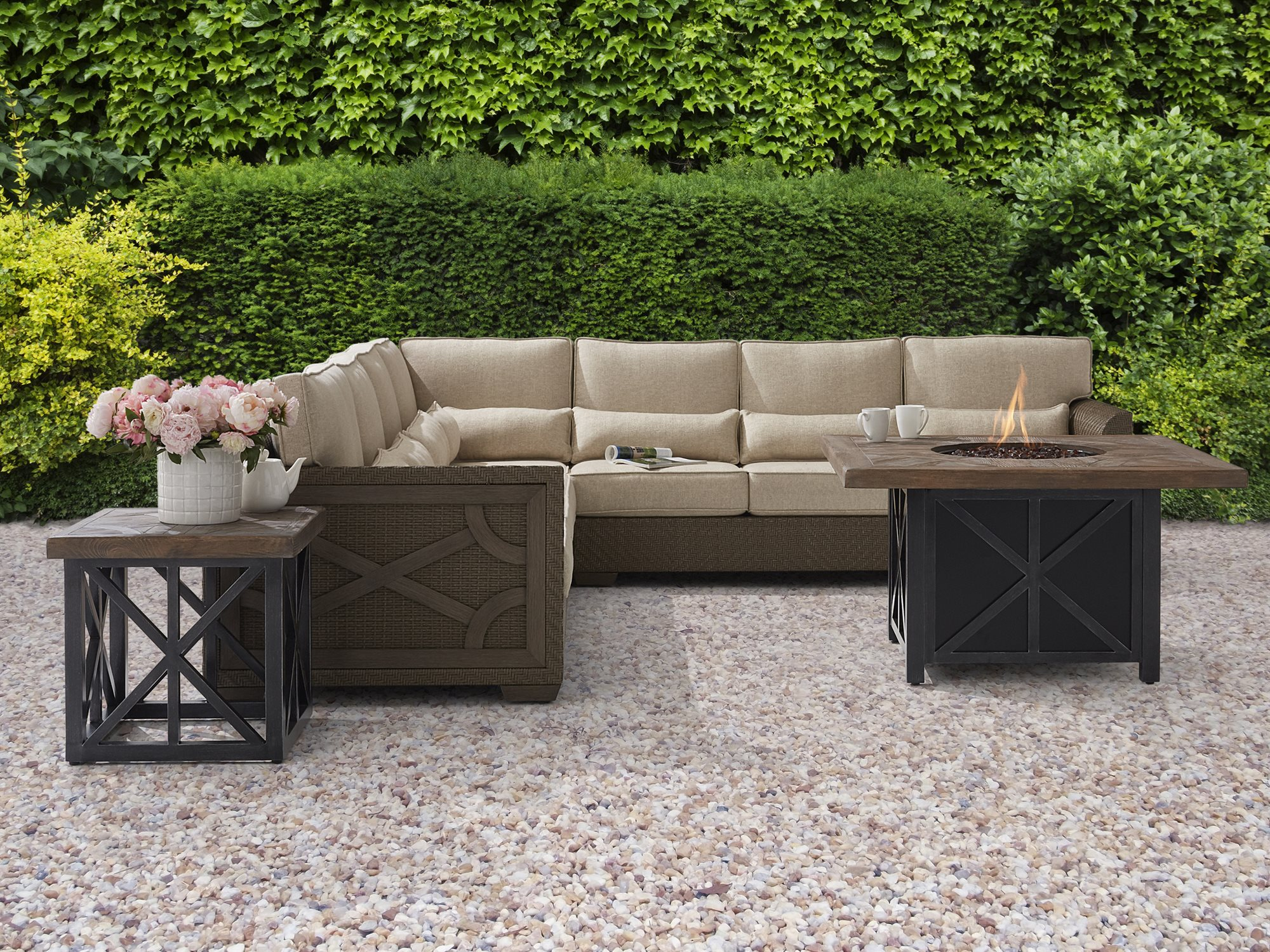 A R T Furniture Outdoor Arch Salvage Wicker Sectional Set