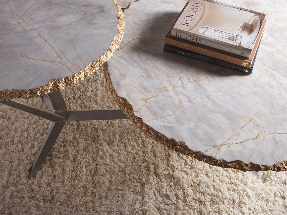 Artistica Home Cosmos Marble With Gold Leaf Edge 56 L X