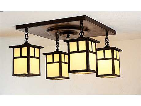 Arroyo Craftsman Mission Four-Light Semi-Flush Mount Light
