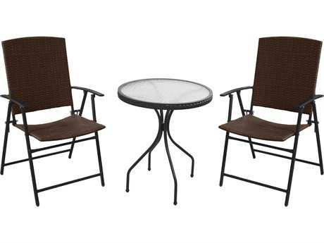 AZ Patio Heaters Three Piece Patio Set - Dark Brown Wicker