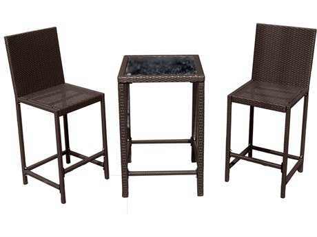 AZ Patio Heaters Bar Height Bistro Set- Dark Brown Wicker
