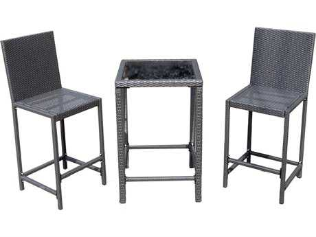 AZ Patio Heaters Bar Height Bistro Set- Charcoal Wicker