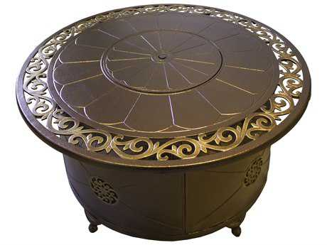 AZ Patio Heaters 48''Wide Round Cast Aluminum Decorative Firepit In Bronze