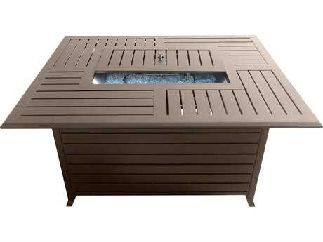 AZ Patio Heaters 49''W x 37''D Rectangular Slatted Aluminum Firepit