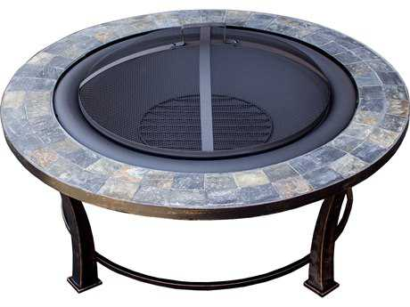 AZ Patio Heaters 40'' Round Slate Top Wood Burning Firepit PatioLiving