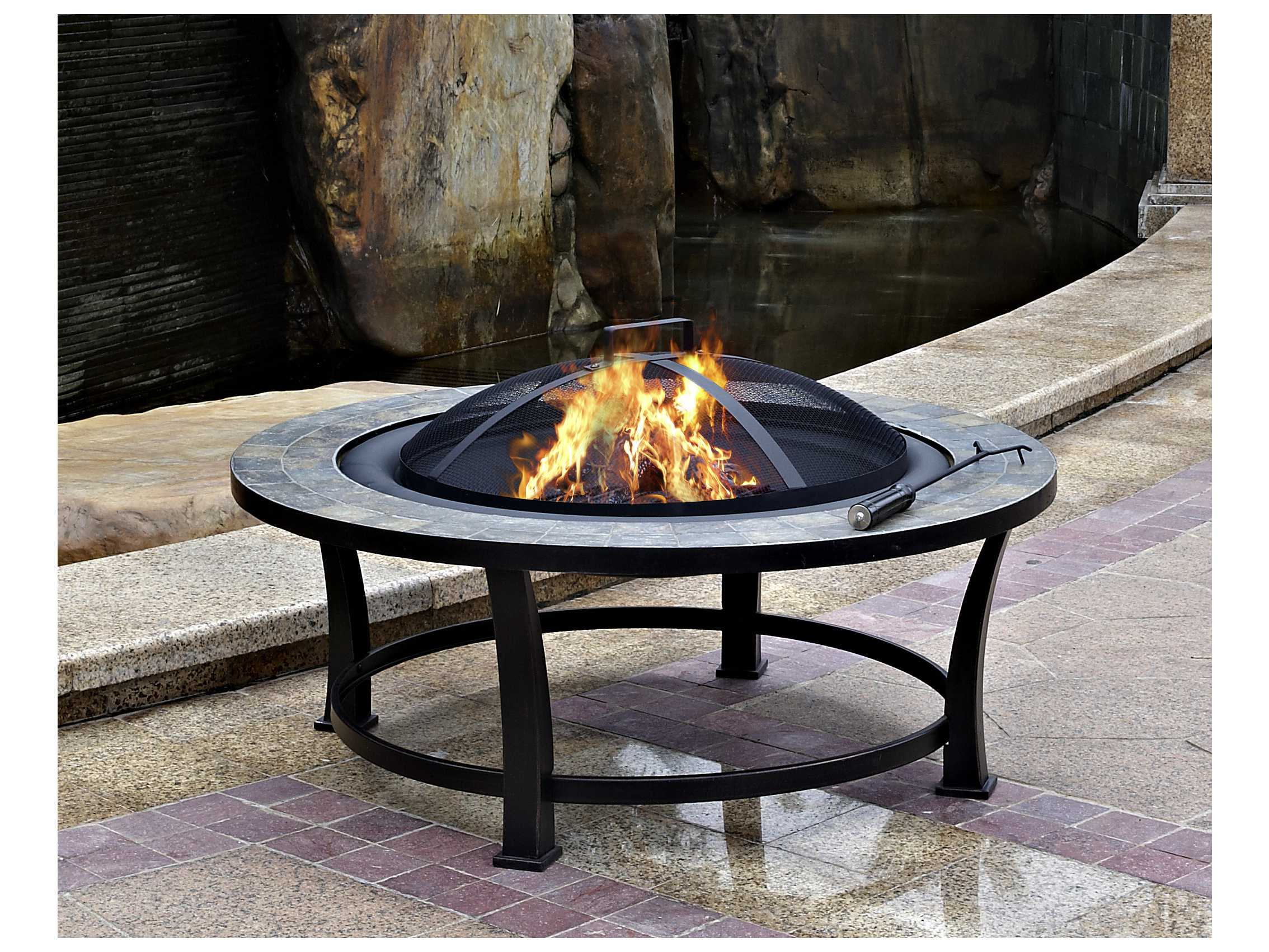 Az Patio Heaters 40 Round Slate Top Wood Burning Firepit